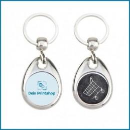 Runder Schlüsselanhänger aus Metall mit Einkaufswagenchip - Ø 25 mm - Personalisiert