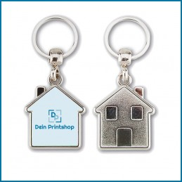 Schlüsselanhänger aus Metall - Haus-Form - Personalisiert