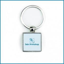 Quadratischer Schlüsselanhänger aus Metall - 25 x 25 mm - Personalisiert